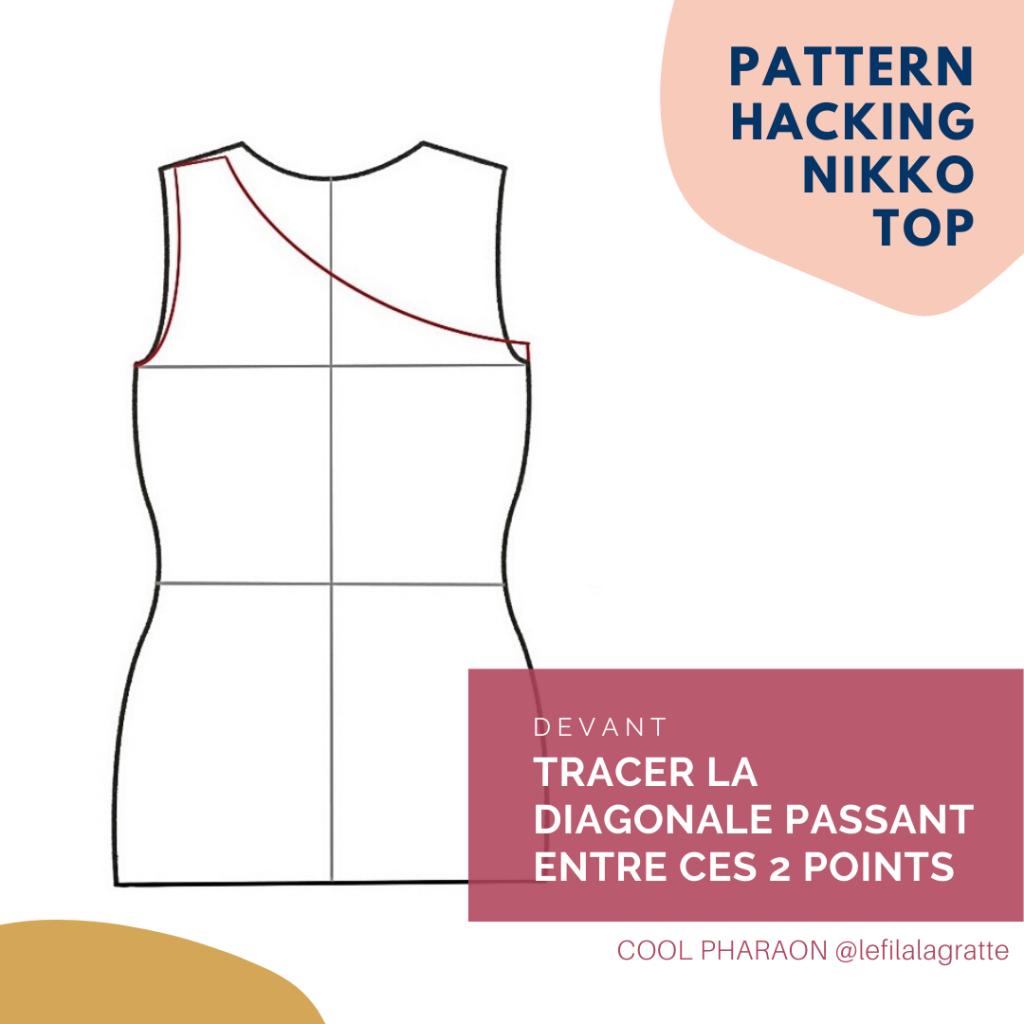 One-shoulder top - Haut asymétrique - Pattern hacking Cool Pharaon - Devant