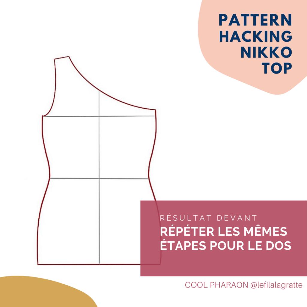 One-shoulder top - Haut asymétrique - Pattern hacking Cool Pharaon - Résultat Devant